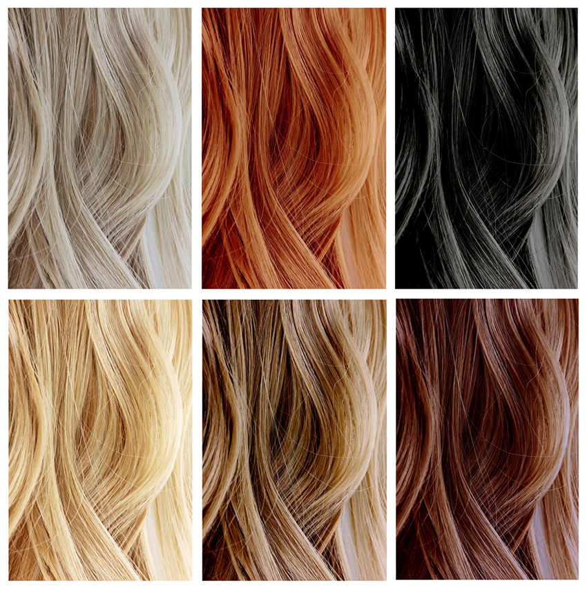 6 different hair color samples